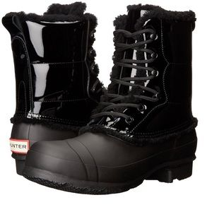 Hunter Patent Leather Shearling Lined Lace Up Boot